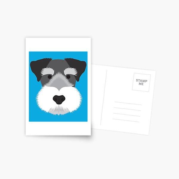 Pop-Art inspirierte Vektorillustration eines entzückenden Zwergschnauzers Postkarte