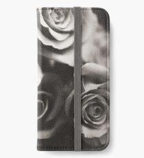 Medium format analog black and white photo of white rose flowers iPhone Wallet/Case/Skin