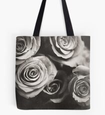 Medium format analog black and white photo of white rose flowers Tote Bag