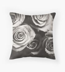 Medium format analog black and white photo of white rose flowers Throw Pillow