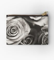 Medium format analog black and white photo of white rose flowers Studio Pouch