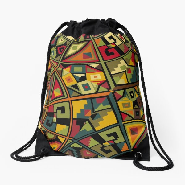 African Traditional Fabric Design Drawstring Bag