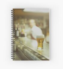 Glass of beer in Spanish tapas bar square Hasselblad medium format  c41 color film analogue photograph Spiral Notebook