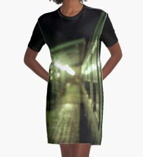 Old train at night in empty station green square Hasselblad medium format film analog photograph Graphic T-Shirt Dress