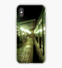 Old train at night in empty station green square Hasselblad medium format film analog photograph iPhone Case