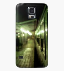 Old train at night in empty station green square Hasselblad medium format film analog photograph Case/Skin for Samsung Galaxy