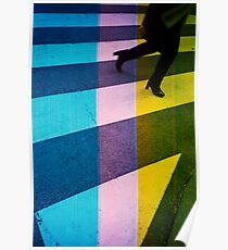 35mm analog film darkroom photo woman crossing street Poster
