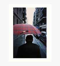 35mm c41 analog film darkroom photo old man in street Art Print