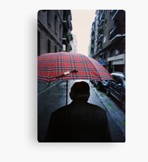 35mm c41 analog film darkroom photo old man in street Canvas Print