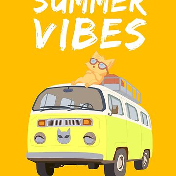 Summer Vibes Cat, Beach Vacation Van with Kitten by BossBabeArt