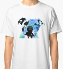 pit bull watercolor pet portrait || Sadie Classic T-Shirt