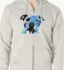 pit bull watercolor pet portrait || Sadie Zipped Hoodie