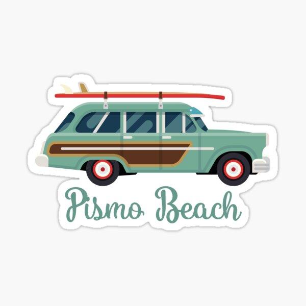 Pismo Beach California Retro Surf Wagon Sticker