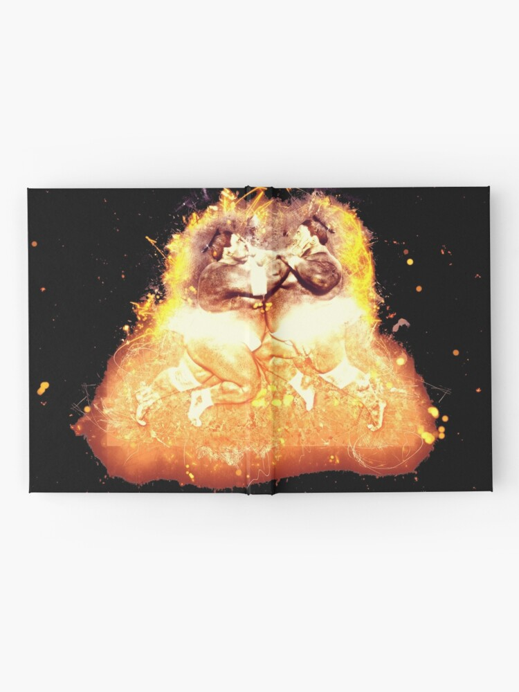 Alternative Ansicht von Sumoringer athlete burning Notizbuch