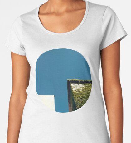 Weißes Quadrat, grünes Quadrat, blauer Himmel Frauen Premium T-Shirts