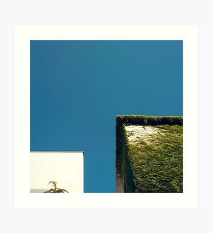 Weißes Quadrat, grünes Quadrat, blauer Himmel Kunstdruck