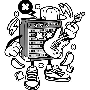 Guitar and Amp Cartoon Kid by wearitout