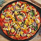 Pizza Topped and Ready for Baking by John Hooton