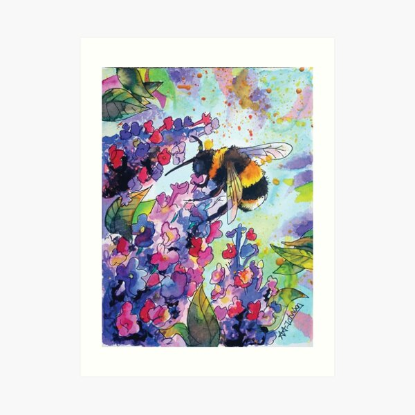 Drink up little bee Art Print