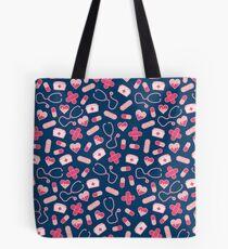 Pink and Blue Nurse Pattern Tote Bag