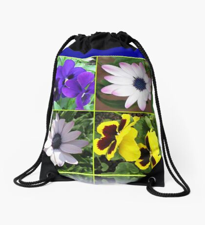 Pretty Pansies and Cute Cape Daisies Floral Collage Turnbeutel
