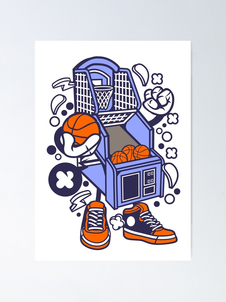 Arcade Basketball Game Cartoon Poster By Wearitout Redbubble