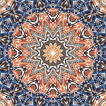 Blue And Orange Tribal Mandala by perkinsdesigns