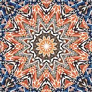 Blue And Orange Tribal Mandala by Phil Perkins