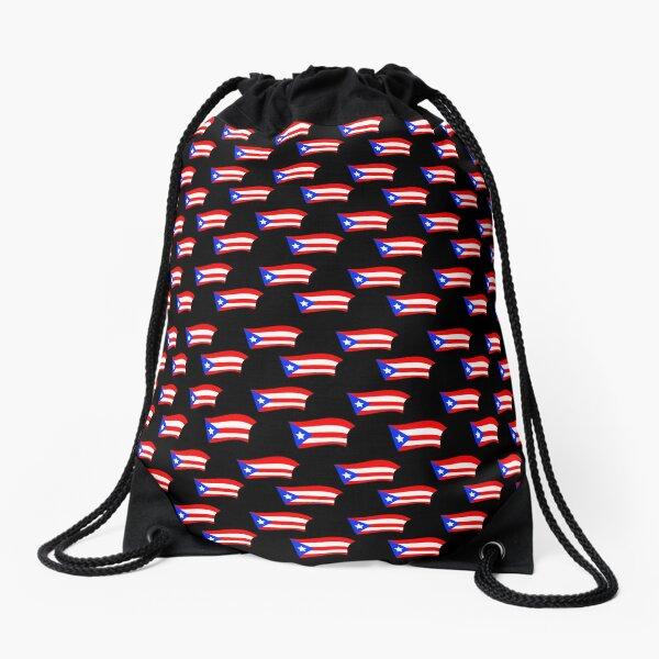 Puerto Rican Flags Black Drawstring Bag