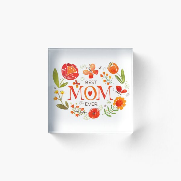 Mother's Day Butterflies and Flowers Acrylic Block