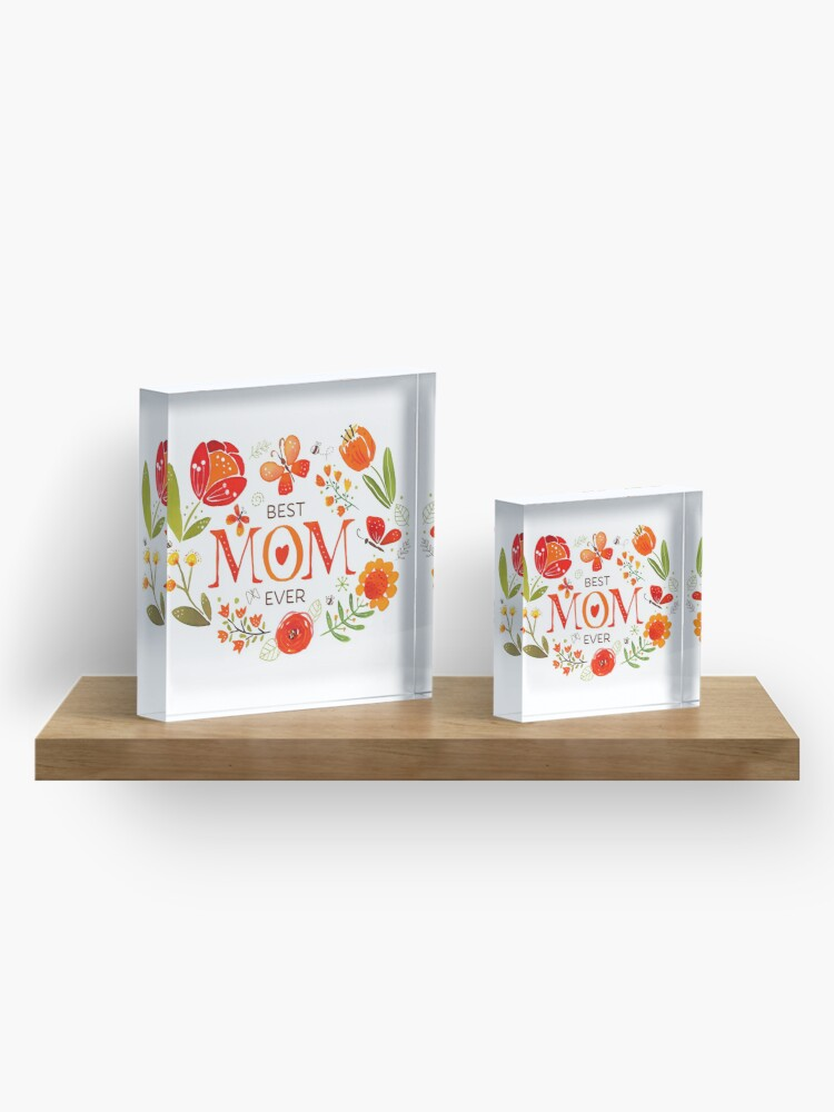 Alternate view of Mother's Day Butterflies and Flowers Acrylic Block