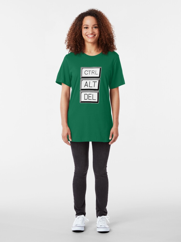 Alternate view of Control Alt Delete Computer User Art Slim Fit T-Shirt