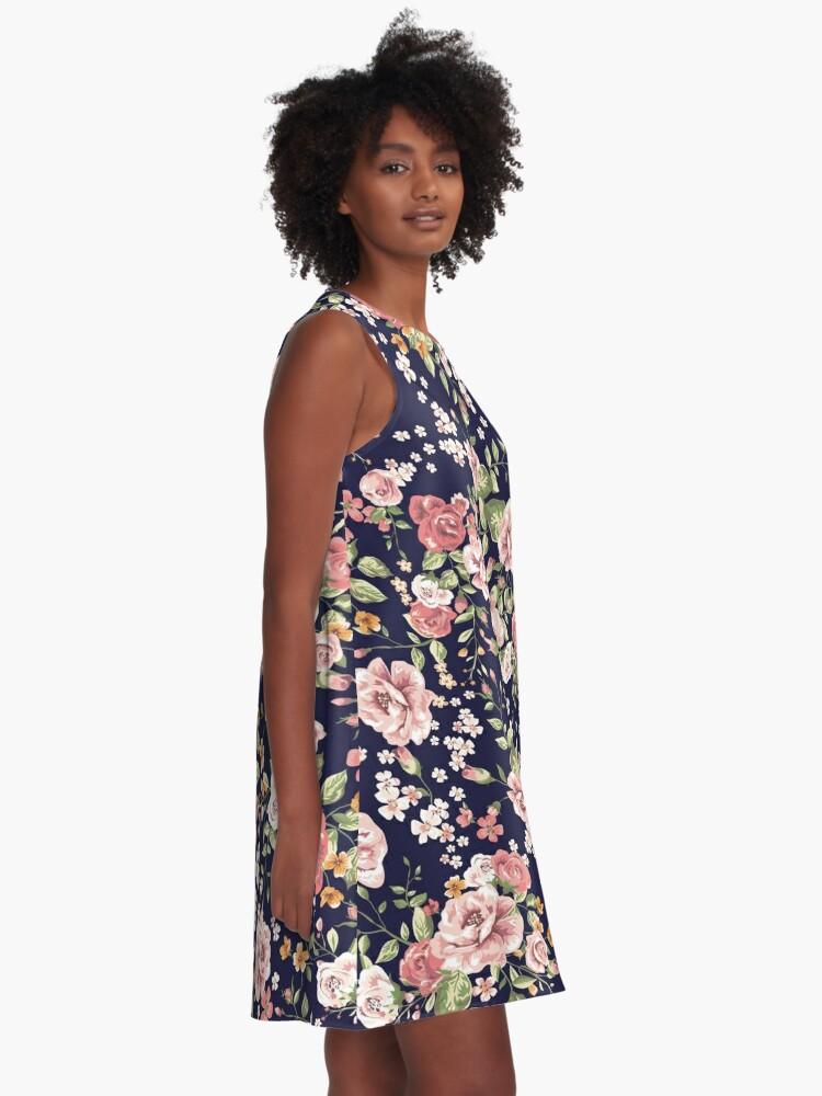 Alternative Ansicht von Blumen A-Linien Kleid