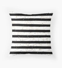 Vintage Black and White Stripes Gold Geometric Pattern Floor Pillow