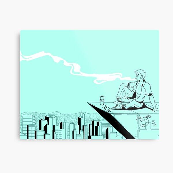 City Smoke blue Metal Print