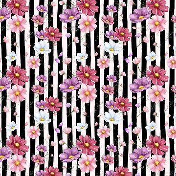 Preppy Black Cabana Stripes and Pastel Flowers by CafePretzel
