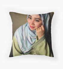 Smiling Muslim Lady Throw Pillow