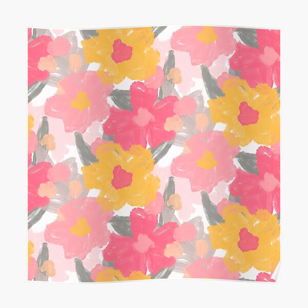 Pretty pink and yellow flowers on a white base Poster