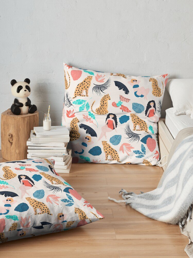 Alternate view of Tropical girls and Cheetah Floor Pillow