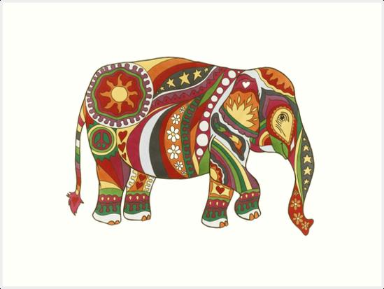 Vintage Psychedelic Elephant by Kellie Espie