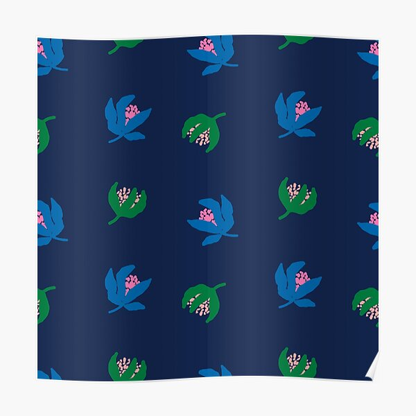 Bold ditsy floral on navy base Poster