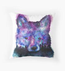 Starry Night Sky Fox Throw Pillow
