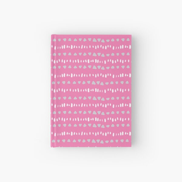 Triangle and dash stripe on pink Hardcover Journal