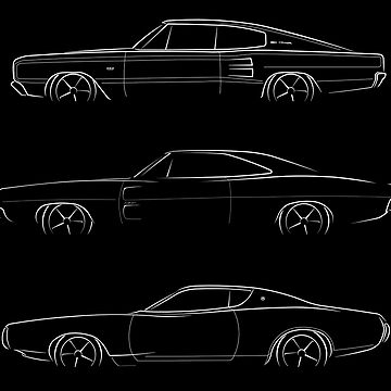 Evolution of the Dodge Charger - profile stencil, white by mal-photography