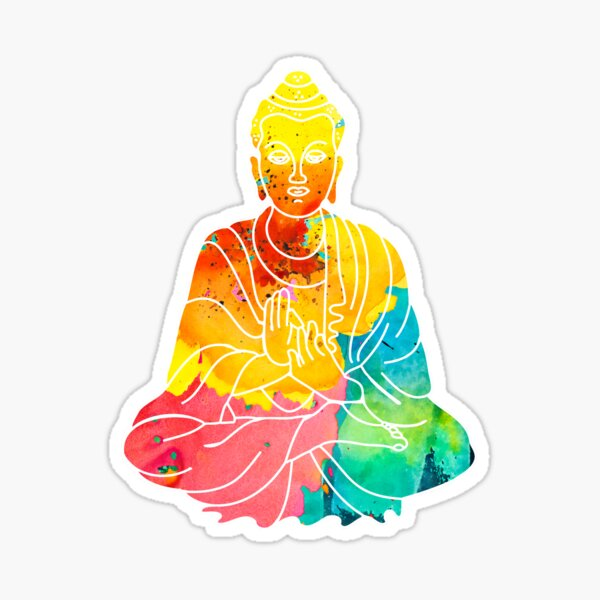 Sitting Buddha Psychedelic Watercolor Style Sticker