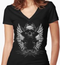 Ornate Skulls Women's Fitted V-Neck T-Shirt