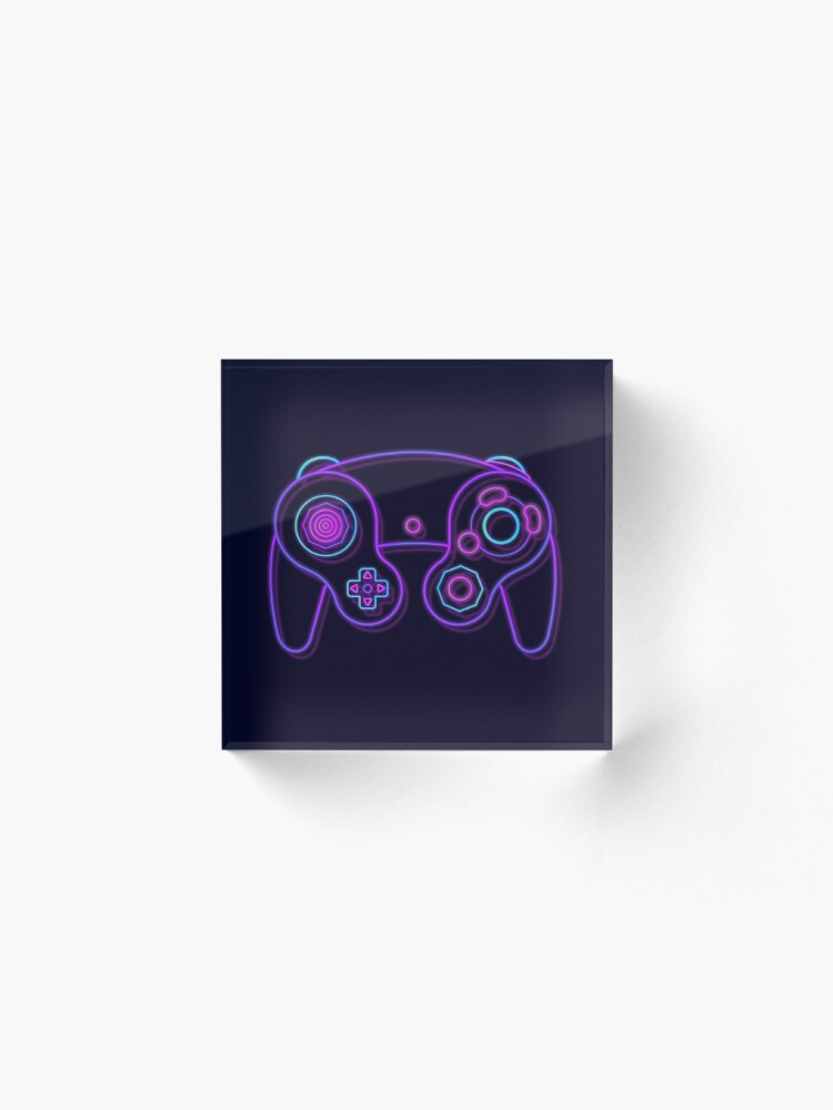 Alternate view of Neon Game Cube Controller Acrylic Block