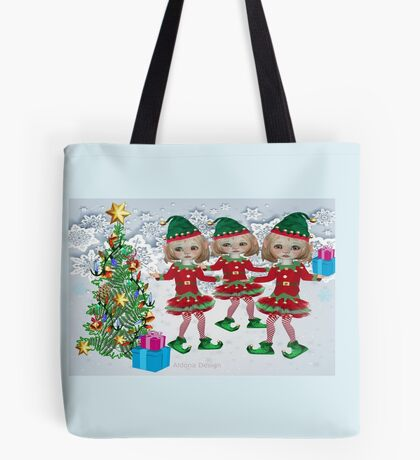 3 little elves / Christmas wreath with bows {309 Views} Tote Bag