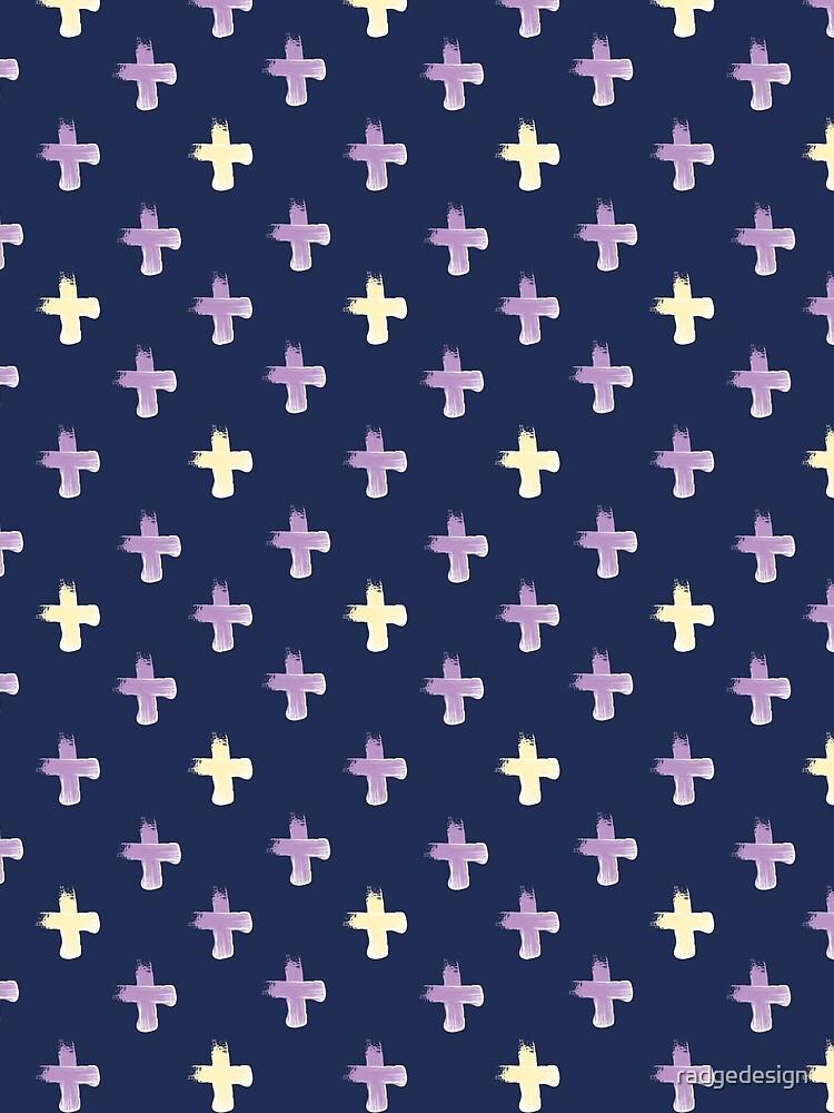 Shoreline Cross Lilac & Lemon by radgedesign