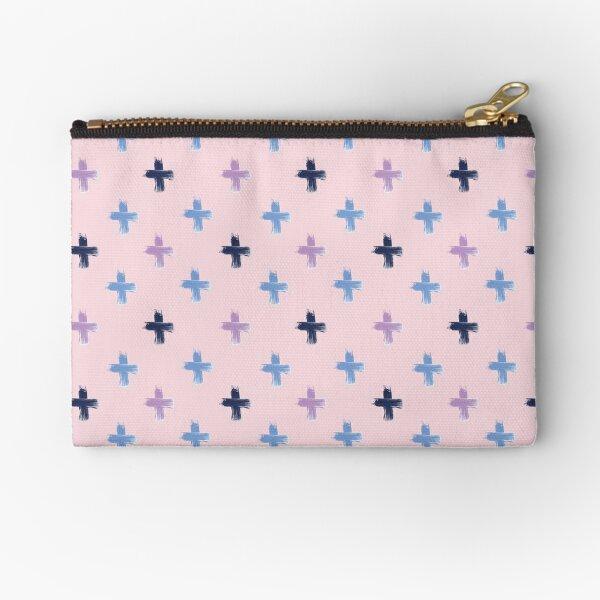 Shoreline Cross Lilac & Blue on Pink Zipper Pouch